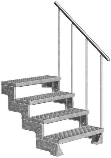 DOLLE Außentreppe »Gardentop«, für Geschosshöhen bis 88 cm, Gitterroststufen 80 cm