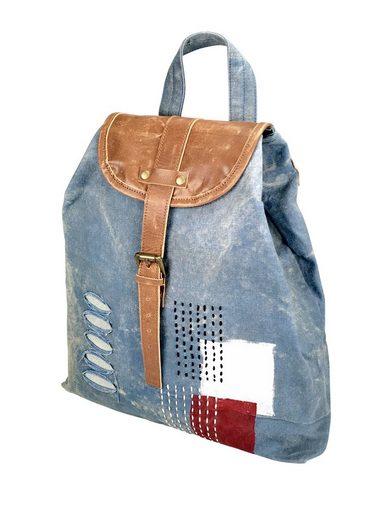 COLLEZIONE ALESSANDRO Cityrucksack »Marian«, aus gewaschenem Denim-Material und Leder