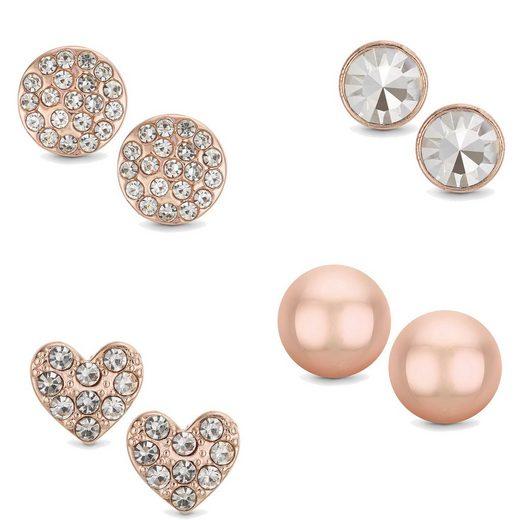 Buckley London Ohrstecker »Messing 4er Set rotvergoldet Kristall Perlen«