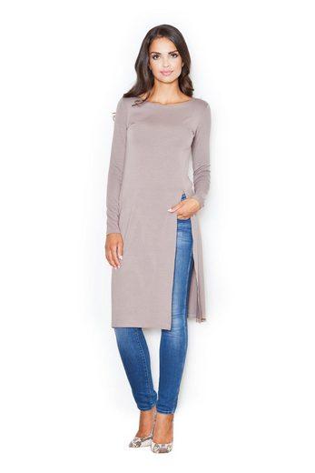 FIGL Jerseykleid mit langem Schlitz