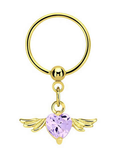 Adelia´s Intimpiercing »Intimpiercing«, Intimpiercing Ring PVD Gold Anhänger mit Flügel und Herz