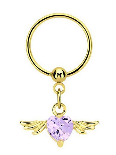 Adelia´s Brustwarzenpiercing »Brustpiercing«, Brustpiercing Ring PVD Gold Anhänger mit Flügel und Herz