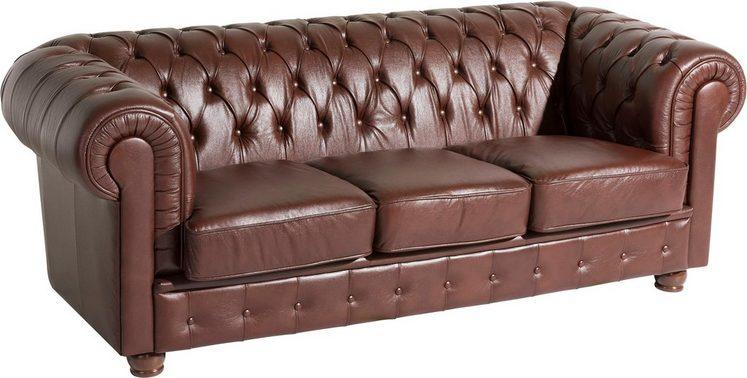 Max Winzer® 3-Sitzer Chesterfield Ledersofa »Bristol« mit edler Knopfheftung, Breite 200 cm