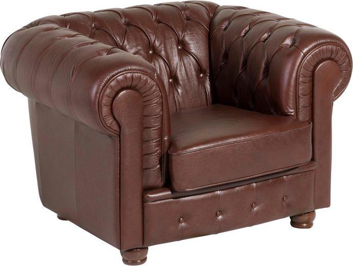 Max Winzer® Chesterfield Ledersessel »Bristol« mit edler Knopfheftung, Breite 110 cm
