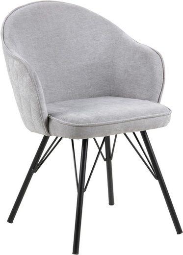 andas Stuhl »Minna« mit schönem schwarzem Metallgestell und Karomuster auf der Sitzrückseite