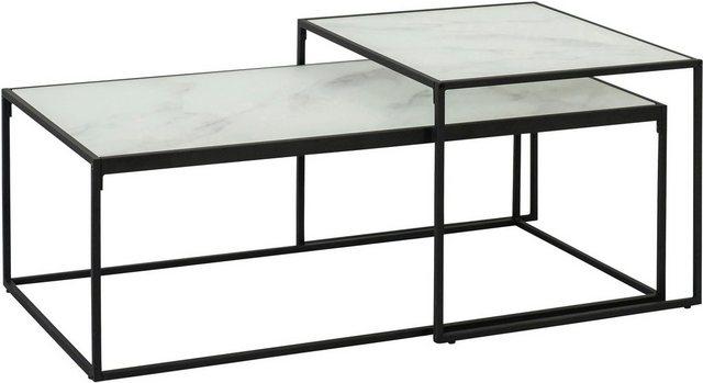 Wohnzimmertische - andas Couchtisch »Bryan« (2er Set), mit schönem Metallgestell und Mamorprint Glastischplatte  - Onlineshop OTTO