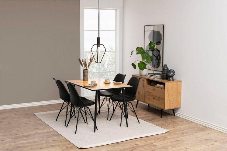 andas Stuhl »Edel« aus schönem Metallbeingestell, Kunststoffsitzschale und Kunstledersitzkissen (2er Set)