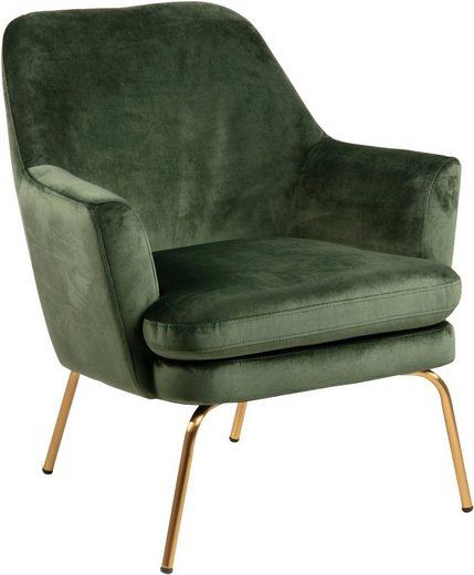 andas Loungestuhl »Christoph« mit schönem messingfarbenen Beinen und weichem waldgrünem Velvetbezug