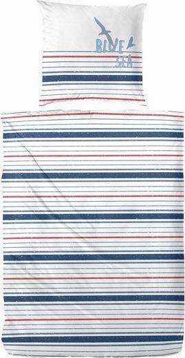 Bettwäsche »Blue Sea«, Primera, mit schmalen Streifen