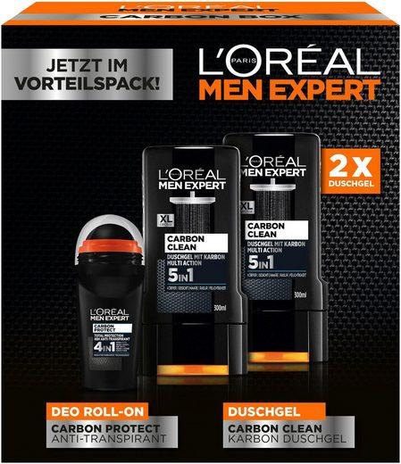 L'ORÉAL PARIS MEN EXPERT Gesichtreinigungs-Set »Carbon Protect & Clean Box«, 3-tlg., Duschpflege & Deo Schutz in einer Box
