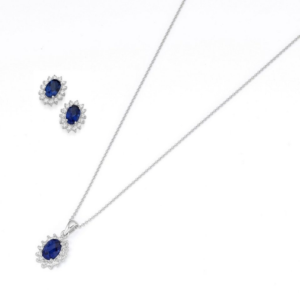 Smart Jewel Schmuckset »Anhänger inkl. Kette und Ohrstecker, Blütenförmig« | Schmuck > Schmucksets | Blau | Stein | Smart Jewel