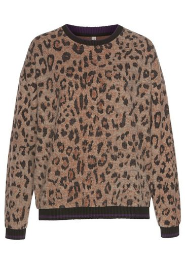 Blendshe Sweatshirt mit Leo-Print & kontrastfarbenen Bündchen