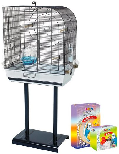 HEIM Set: Vogelkäfig »Arte 5«, BxTxH: 64x38x138 cm, inkl. Zubehör und Ständer
