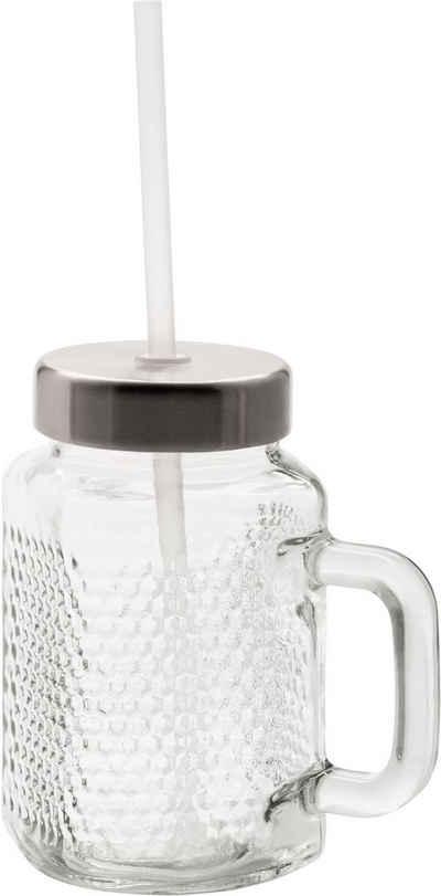 WMF Becher »Kult X Mason Cup-Set«, Kristallglas, Cromargan® Edelstahl Rostfrei 18/10, mit Deckel und Strohhalm