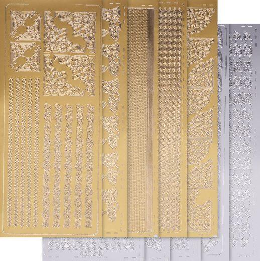 VBS Sticker »Bordüren«, 10 Stück, gold und silber