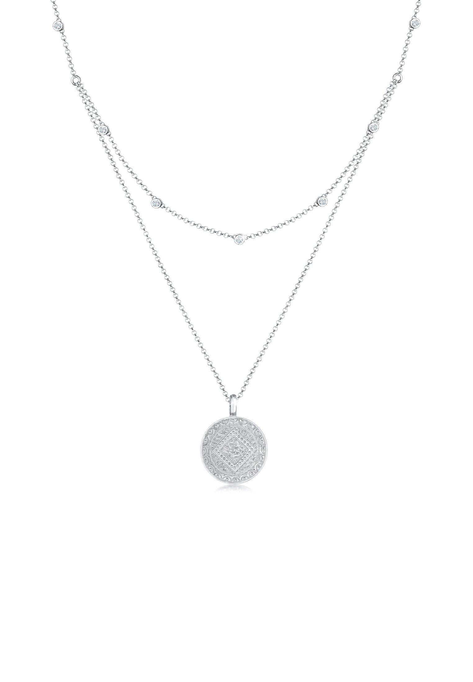Elli Collierkettchen »Münze Plättchen Swarovski® Kristalle 925 Silber« online kaufen | OTTO