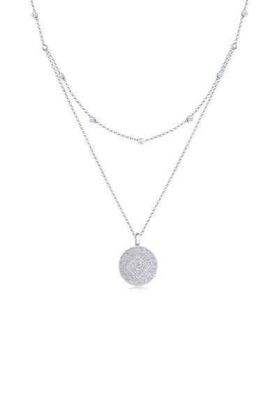 Elli Collierkettchen »Münze Plättchen Swarovski® Kristalle 925 Silber«