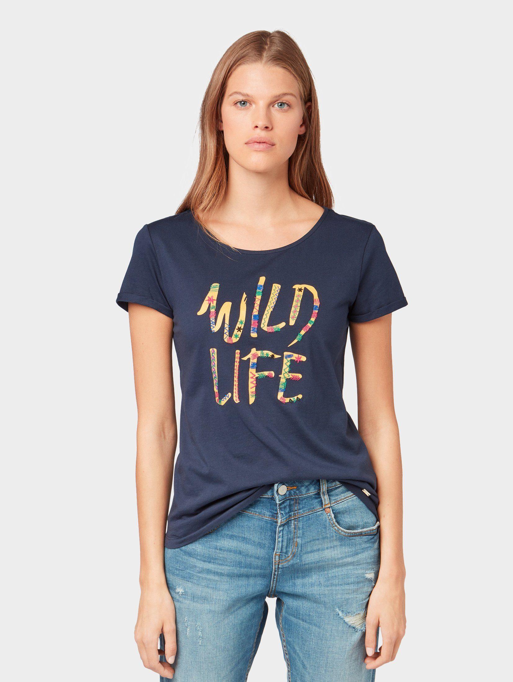 TOM TAILOR Denim T Shirt »T Shirt mit Schrift Print« online kaufen | OTTO