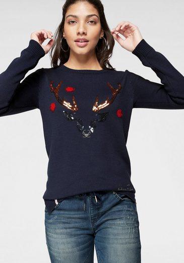 KangaROOS Rundhalspullover mit Weihnachts-Christmas-Motiv aus Pailletten