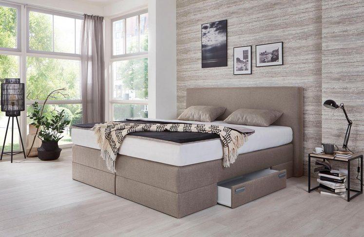 Westfalia Schlafkomfort Boxspringbett mit Schubkästen und Zierkissen