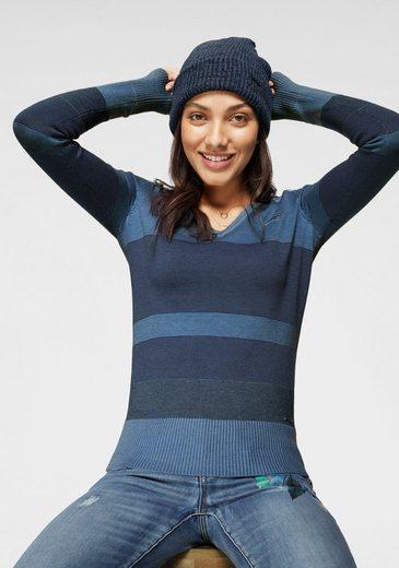 KangaROOS V-Ausschnitt-Pullover im Multicolor-Streifenmuster