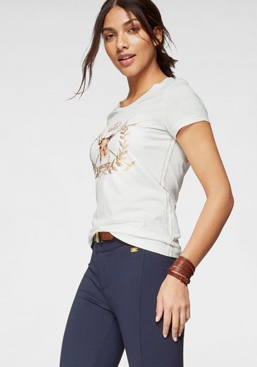 TOM TAILOR Polo Team T-Shirt mit aufwendigem Metallic-Front-Print