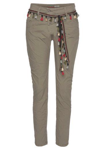 Please Jeans Boyfriend-Hose »P78A« inklusive Bindegürtel mit Quasten