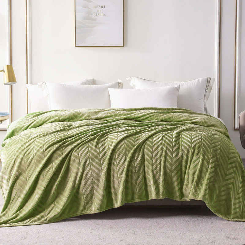Tagesdecke »Wohndecke Olivgrün«, Yebeda, Premium Wohndecke, Mikrofaser Fleece-Decke, 220 x 240 cm, TV- Decken, Sofadecke, Flauschige, Gemütlich, Langlebig