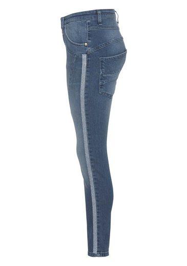 Please Jeans Boyfriend-Jeans »P78A« mit Glitzer-Seitenstreifen