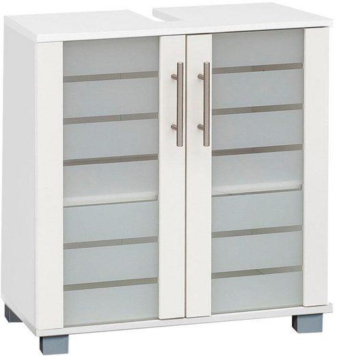 Schildmeyer Waschbeckenunterschrank »Nikosia« Höhe 64 cm, mit Glastüren, hochwertige MDF-Fronten, Metallgriffe