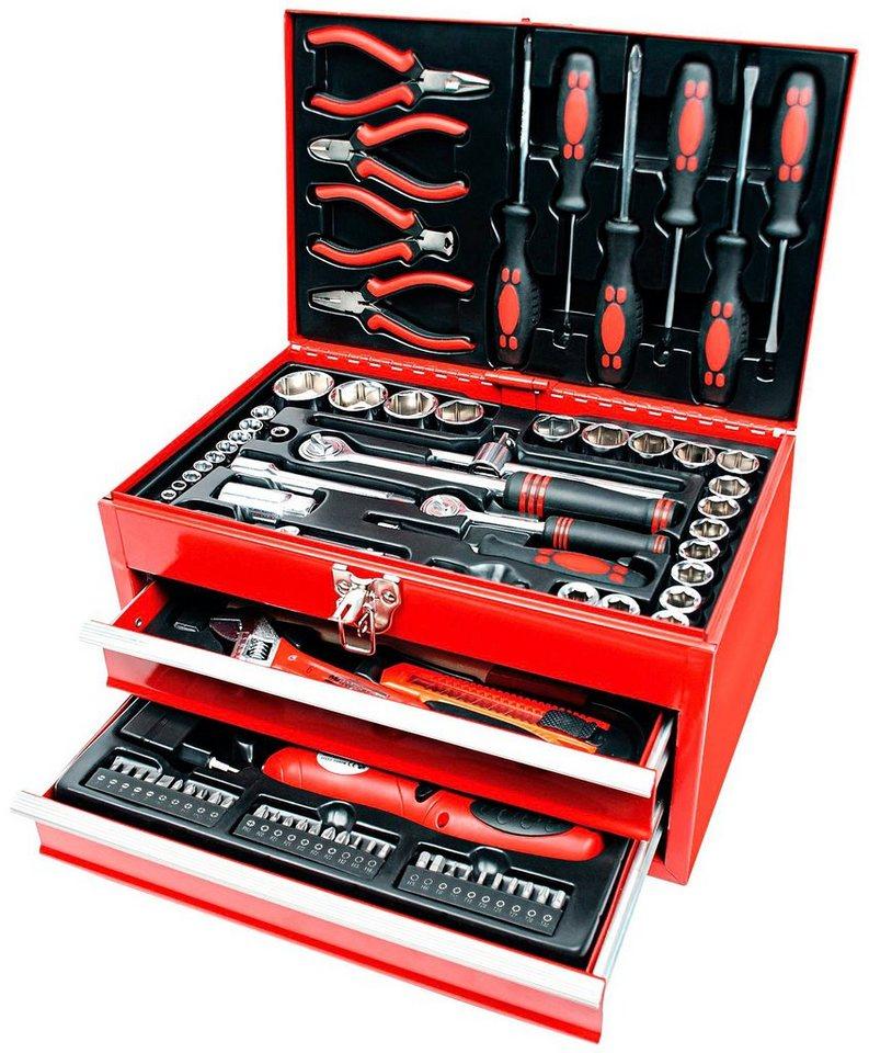 Brueder Mannesmann Werkzeuge Werkzeugbox »155-tlg.« | Baumarkt > Werkzeug > Werkzeug-Sets | Rot | Brüder Mannesmann Werkzeuge