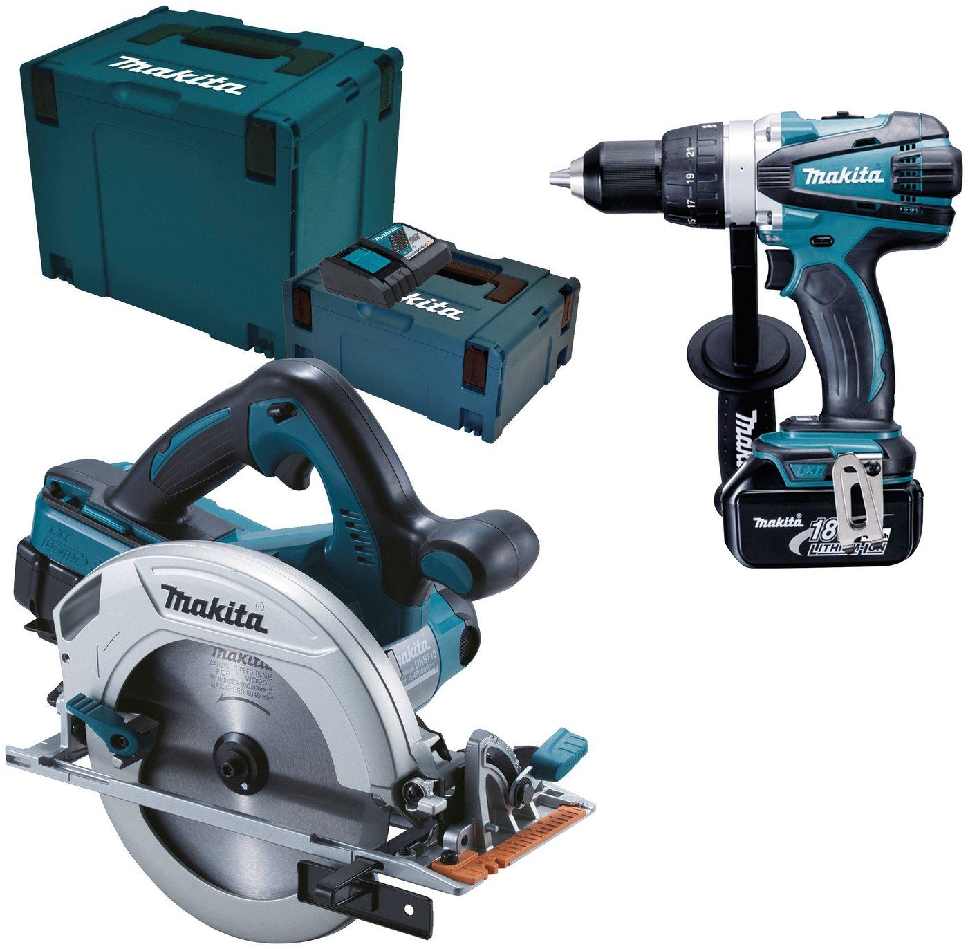 MAKITA Elektrowerkzeug-Set »DLX2083MJ«, 18 V, mit Akkus und Ladegerät | Baumarkt > Werkzeug > Werkzeug-Sets | Blau | Makita
