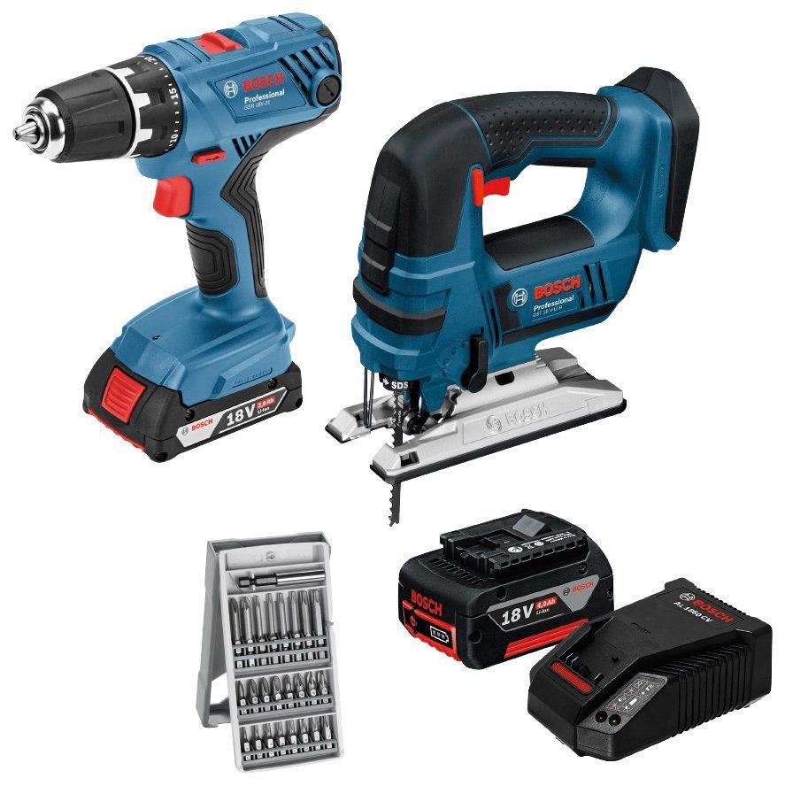 BOSCH PROFESSIONAL Elektrowerkzeug-Set »GSR 18V-21 + GST 18V-LI«, 18 V | Baumarkt > Werkzeug > Werkzeug-Sets | Blau | Bosch Professional
