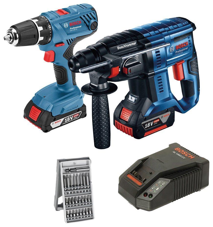 BOSCH PROFESSIONAL Elektrowerkzeug-Set »GSR 18V-21 + GBH 18V-20«, 18 V | Baumarkt > Werkzeug > Werkzeug-Sets | Blau | Bosch Professional
