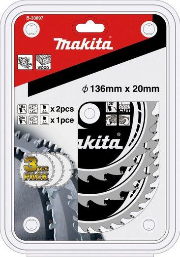 MAKITA Sägeblatt »B-33897«, 3tlg. Set, 136x20 mm, 2x16Z+1x24Z