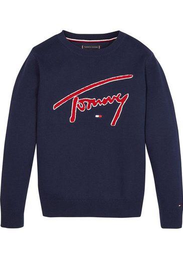 TOMMY HILFIGER Rundhalspullover »TH SWEATER« mit großem Logo