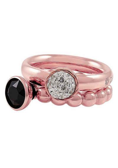 qudo Ring-Set »IC, O600107, O600108, O600109, O600110, O600111« (Set, 4-tlg), mit abnehmbaren Elementen, Glasstein und Kristallen