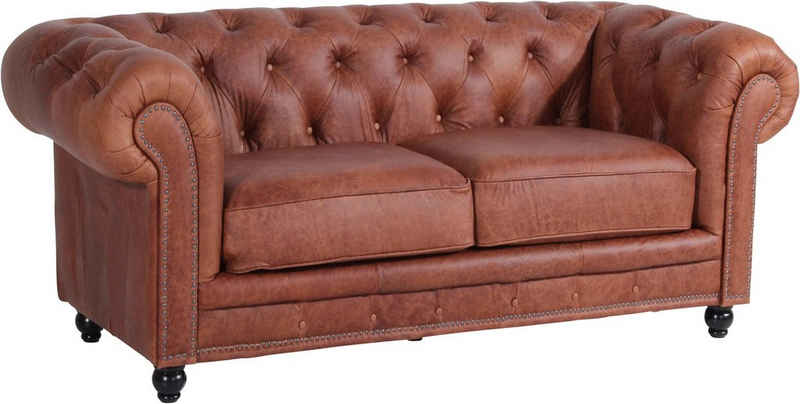Max Winzer® Chesterfield-Sofa »Old England«, 2-Sitzer Ledersofa mit Knopfheftung & Ziernägeln, Breite 192 cm