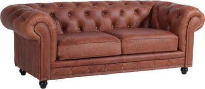 Max Winzer® Chesterfield-Sofa »Old England«, 2,5-Sitzer Ledersofa mit Knopfheftung & Ziernägeln, Breite 218 cm