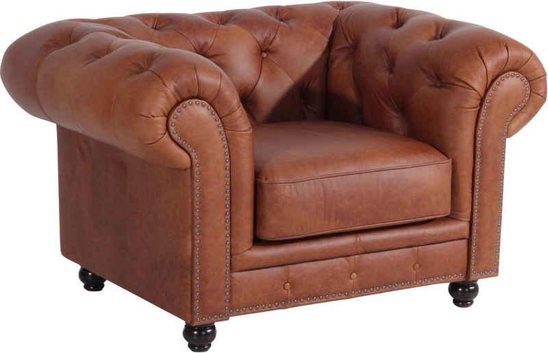 Max Winzer® Chesterfield-Sessel »Old England«, Ledersessel mit Knopfheftung & Ziernägeln