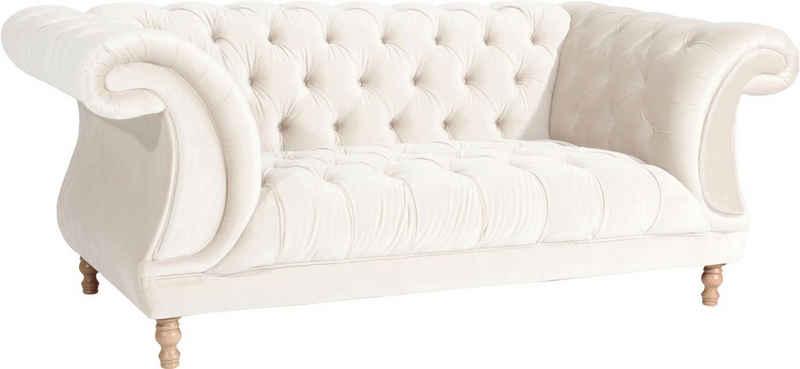 Max Winzer® Chesterfield-Sofa »Isabelle«, mit edler Knopfheftung & gedrechselten Füßen in Buche natur, Breite 200 cm