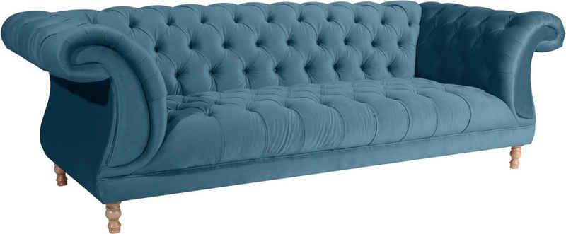 Max Winzer® Chesterfield-Sofa »Isabelle«, mit edler Knopfheftung & gedrechselten Füßen in Buche natur, Breite 260 cm