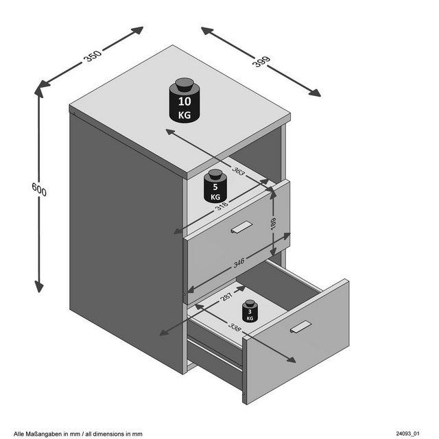 FMD Nachtkonsole »suva« | Schlafzimmer > Nachttische | Weiß | FMD