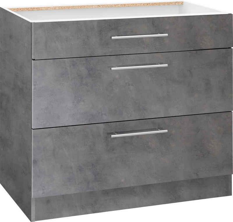 wiho Küchen Unterschrank »Cali« 90 cm breit, mit 2 großen Auszügen ohne Arbeitsplatte