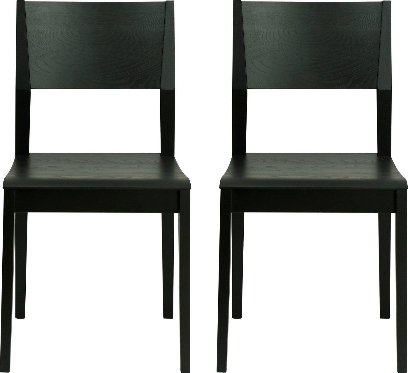 andas Stühle aus massiver Esche, schwarz lackiert (2 Stück)