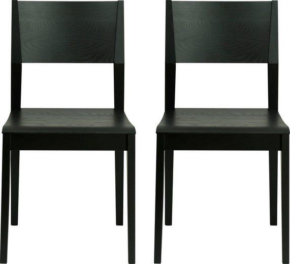andas 4-Fußstuhl »Danielle« aus massiver Esche, schwarz lackiert (2 Stück)