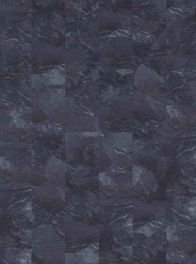Teppichfliese »Velour Steinoptik Schiefer grau«, Infloor, rechteckig, Höhe 6 mm, 14 Stück, 4 m², 25 x 100 cm, selbsthaftend, für Stuhlrollen geeignet