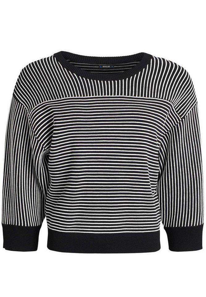 khujo Streifenpullover »DAMARA« mit haptischem Streifenmuster | Bekleidung > Pullover > Streifenpullover | Schwarz | khujo