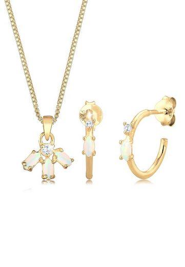 Elli Schmuckset »Box Chain Kette Creolen Opal Zirkonia 925 Silber«