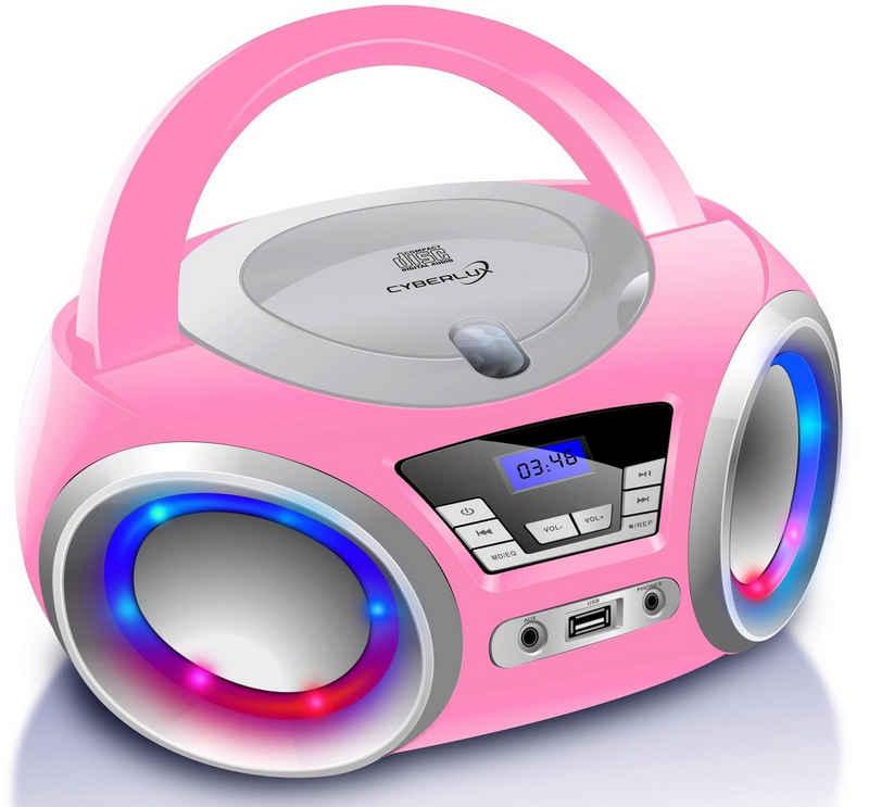 Cyberlux »CL-910« tragbarer CD-Player (Digitales FM Radio mit MP3 USB, LED-Disco-Beleuchtung)